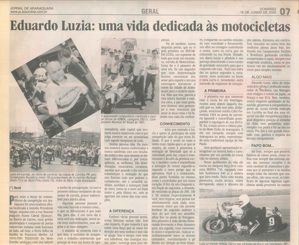 O texto da nossa matéria não é inédito, mas de tão bom que é, pedimos ao autor para republicarmos. Foi publicado no Jornal de Araraquara em 16/06/2002 (Imagem: Reprodução / Benê (Benedito Salvador Carlos)
