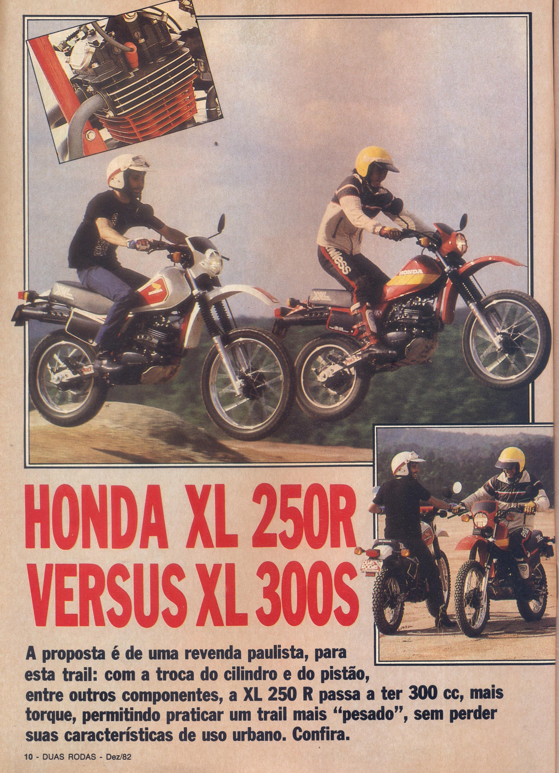 Gabriel Marazzi (XL 250) e Carlãozinho Coachman (XL 300) em teste para a edição de Dezembro de 1982 da Revista Duas Rodas (Fotos Mario Bock - Reprodução Duas Rodas / Motostory)