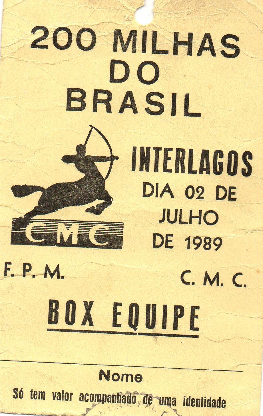 Credencial de 1989 de José Luiz Gonsalves Foto: acervo José Luiz / Motostory